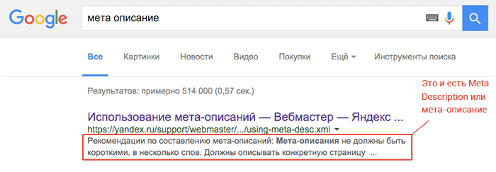 Meta description Google