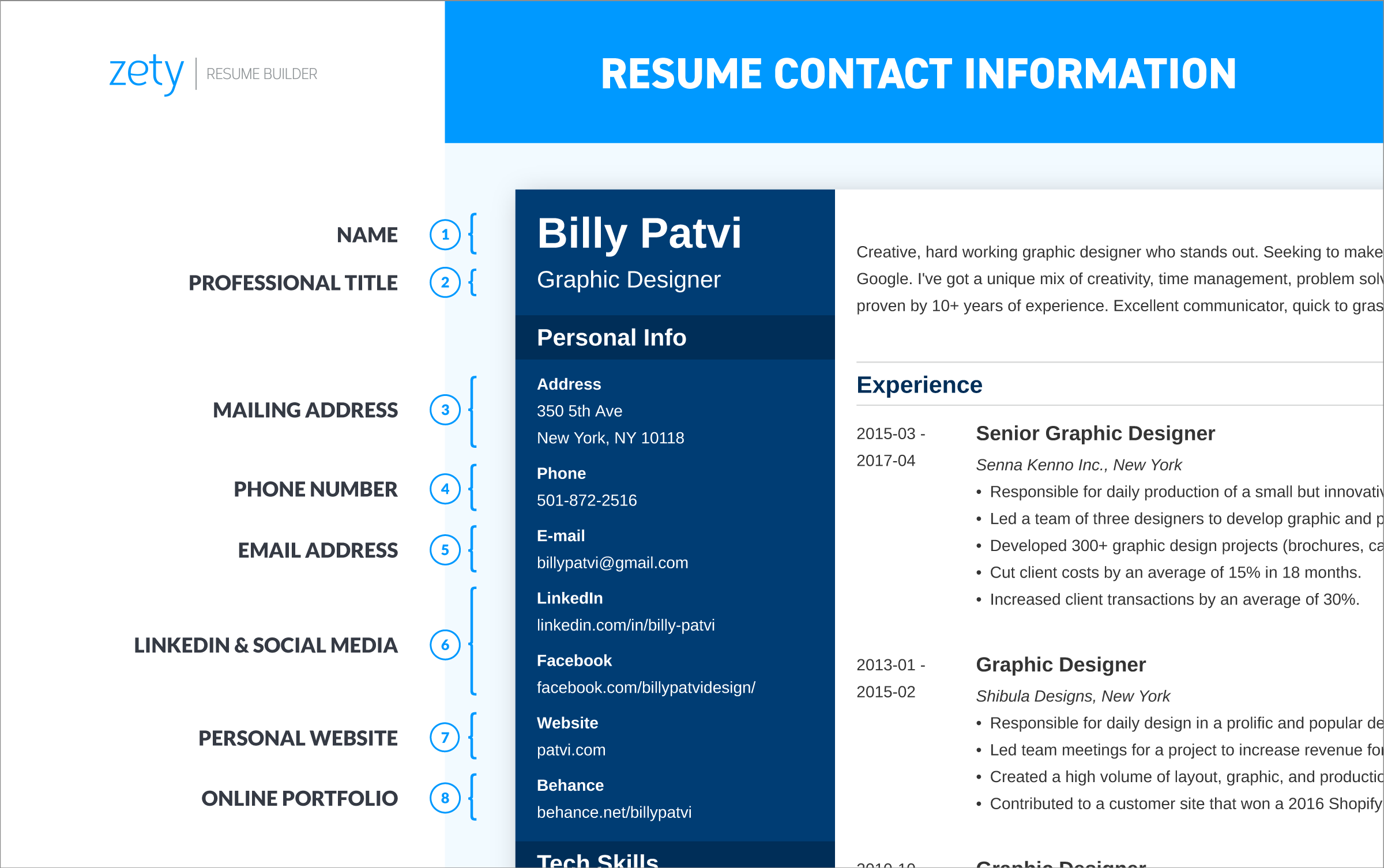 good contact information on resume with address phone number and social media