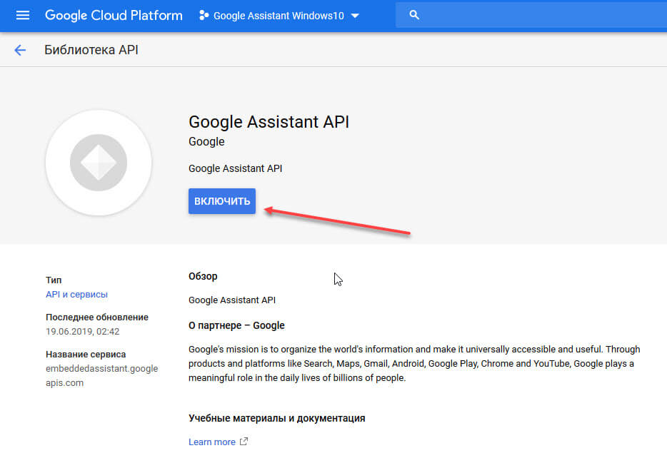 Google Assistant API «Включить».