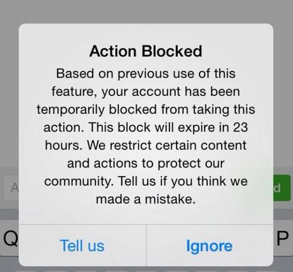 instagram like block and how to solve it