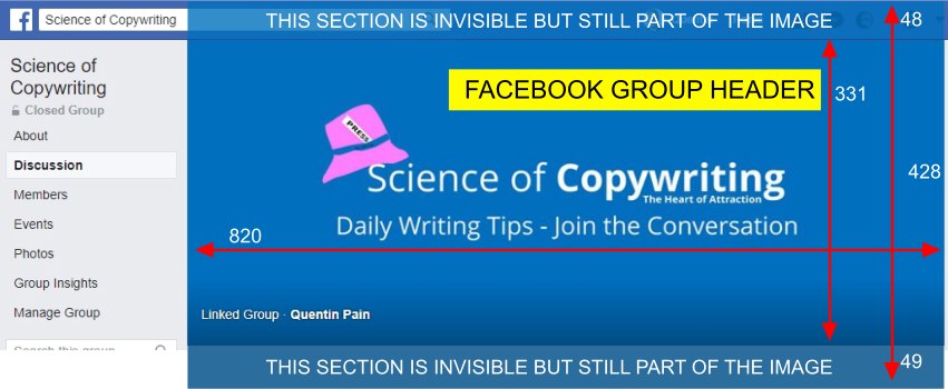 Facebook Group Header Size Example Image With Width and Height Shown