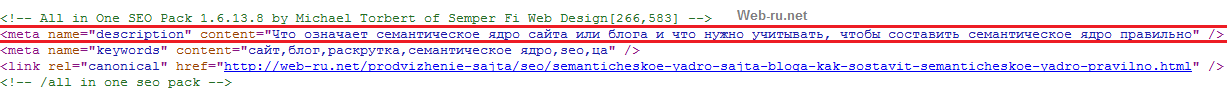 Мета-тег Description после All-in-one-seo-pack